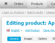 CS-Cart Administration panel - Editing product